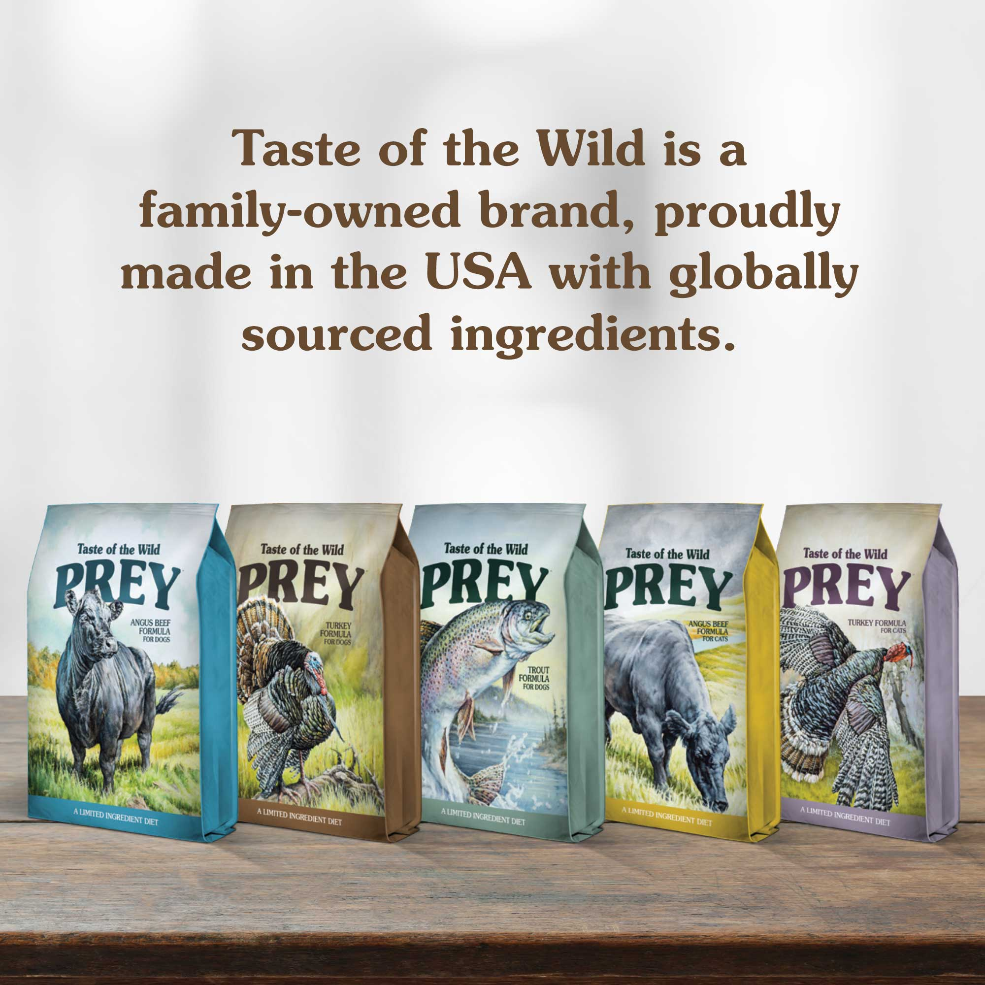 Taste of the Wild is a family-owned brand, proudly made in the USA with globally sourced ingredients