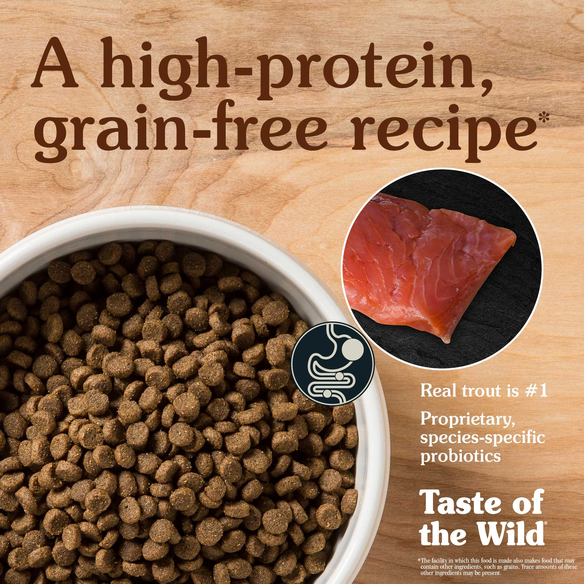 A high-protein, grain-free recipe. Real trout is #1.