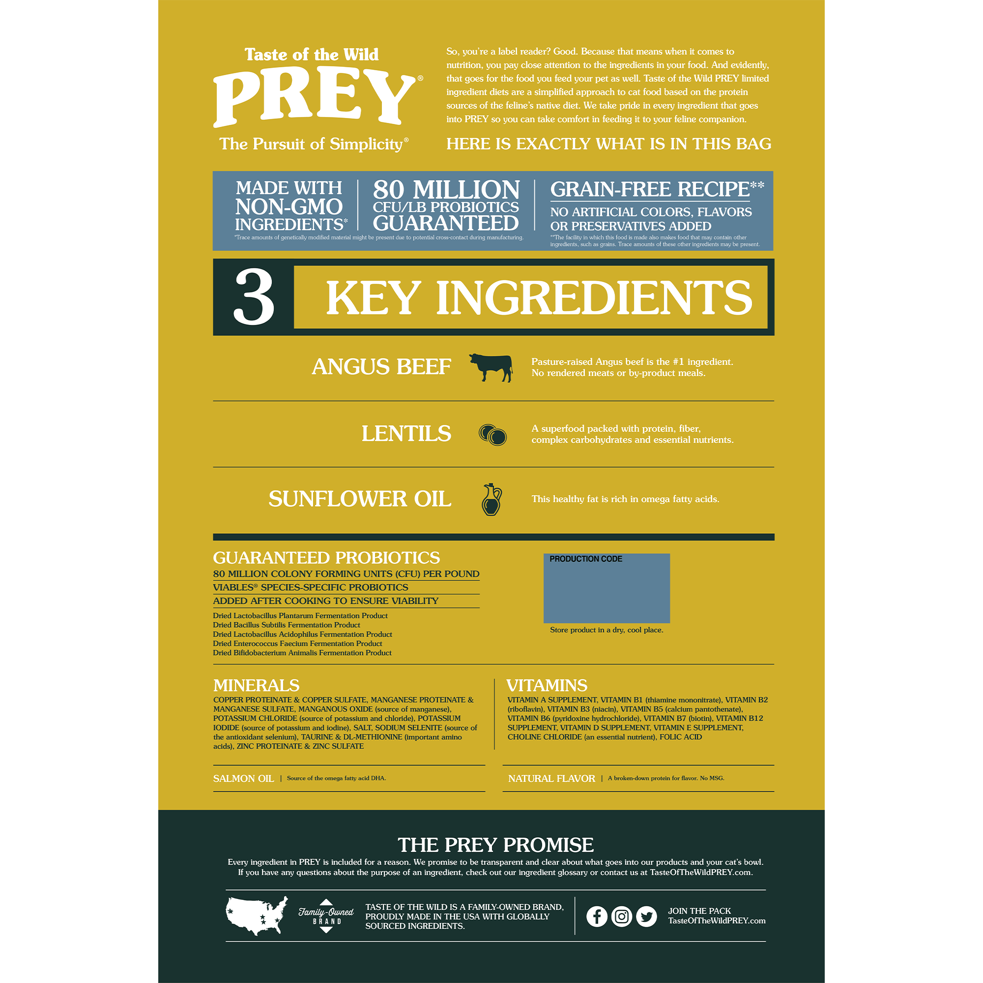 PREY Angus Beef Limited Ingredient Formula for Cats bag back